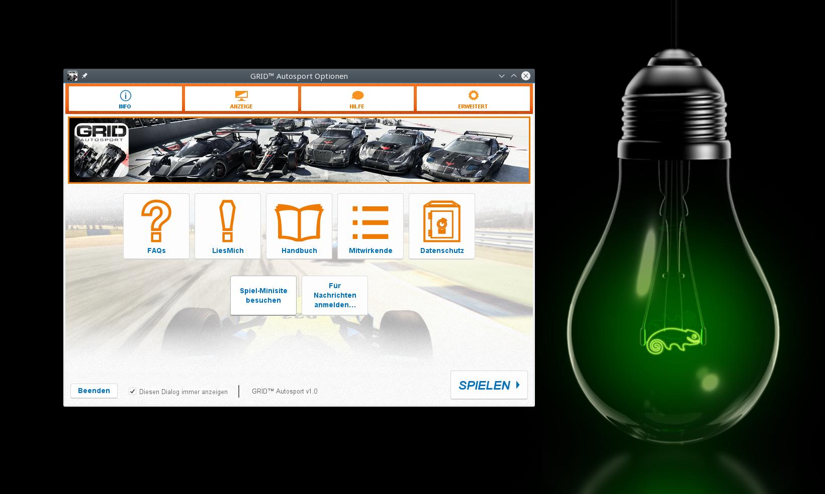 Der Startbildschirm von Grid Autosport auf openSUSE
