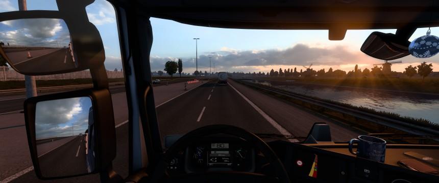 Ein Screenshot aus dem Führerhaus, dem Sonnengang entgegen auf Amsterdam zufahrend.